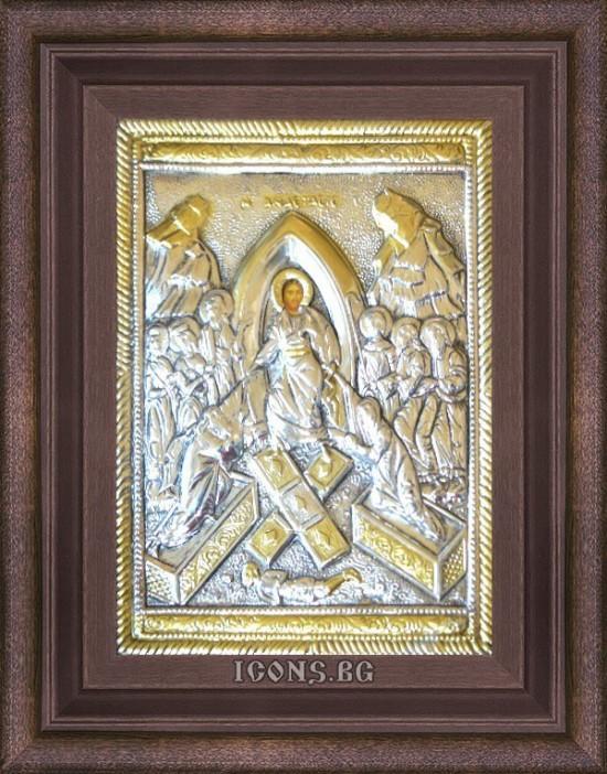 Сребърна икона Възкресение...